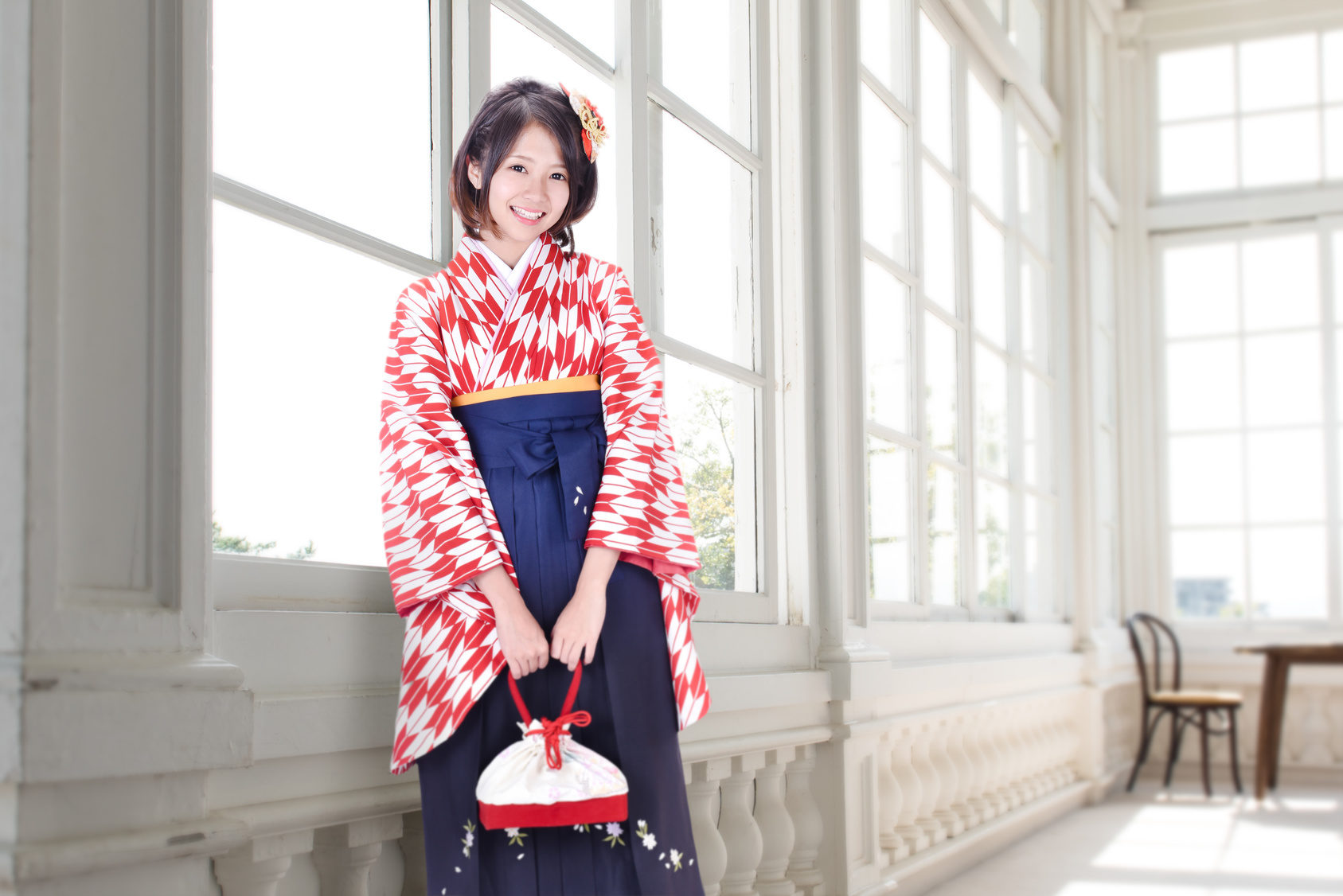 Woman wearing a hakama