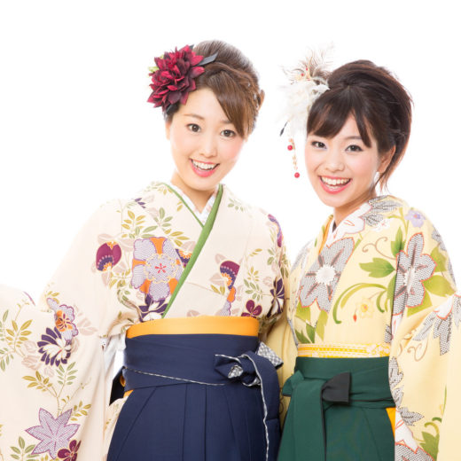 portrait of japanese traditonal women on white background